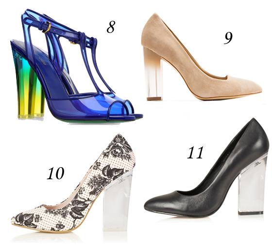 Schuhe mit transparentem Acryl- oder Plexiglas-Absatz
