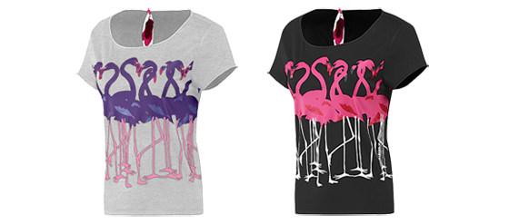 Frauen Flamingo Print T-Shirt adidas neo
