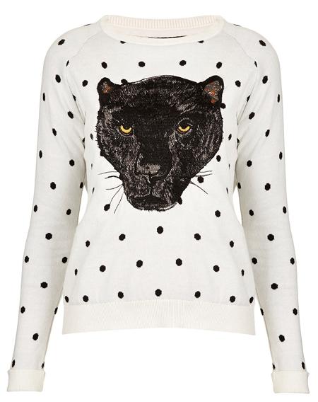 Pullover mit Panther von Topshop