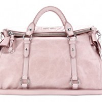 MIU MIU BOW GLAZED LEATHER TOTE