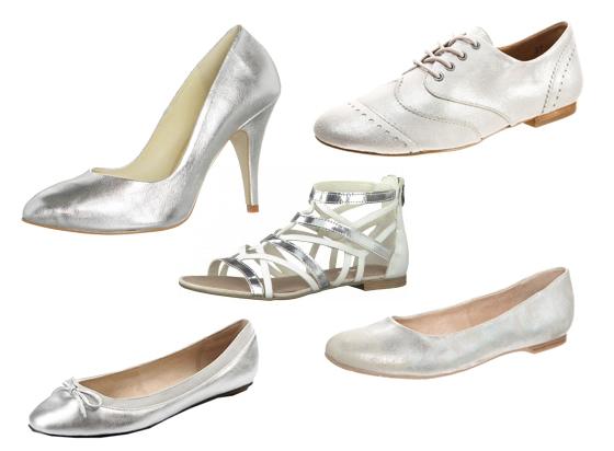Schuhe in Metallic-Look Silber 01