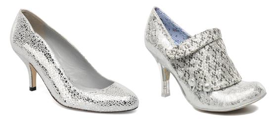 Schuhe in Metallic-Look Silber