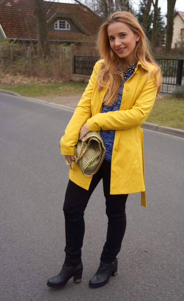 Gelber Gute-Laune-Mantel Sisley Outfit 04