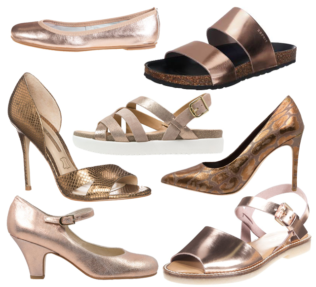 Schuhe in Bronce Metallic Look Trend