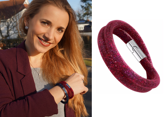 Stardust Double Armband Swarovski Outfit red