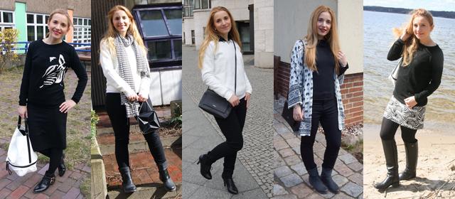Outfitprojekt Schwarz-Weiß Outfit 1 bis 5