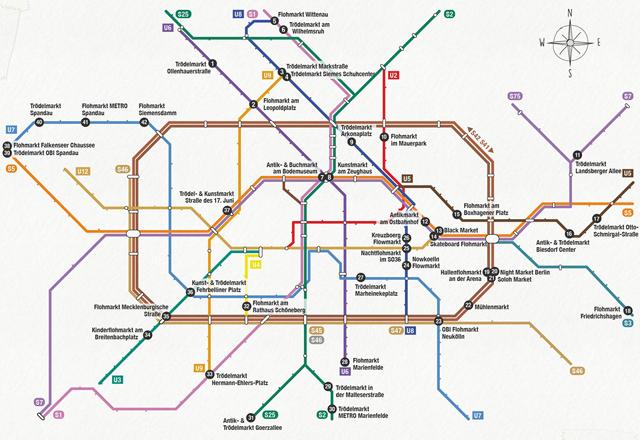 S+U-Bahn-Map Flohmarkt in Berlin