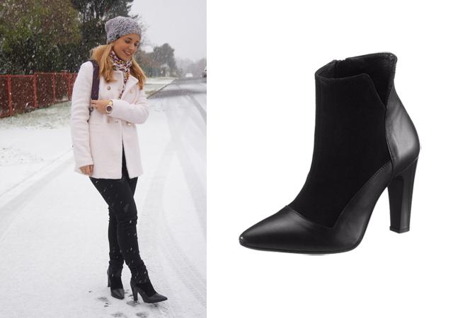 Outfit weißer Mantel im Schnee