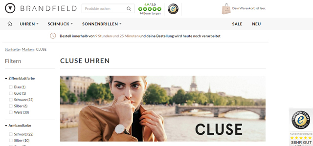 Onlineshop Brandfield Screenshot