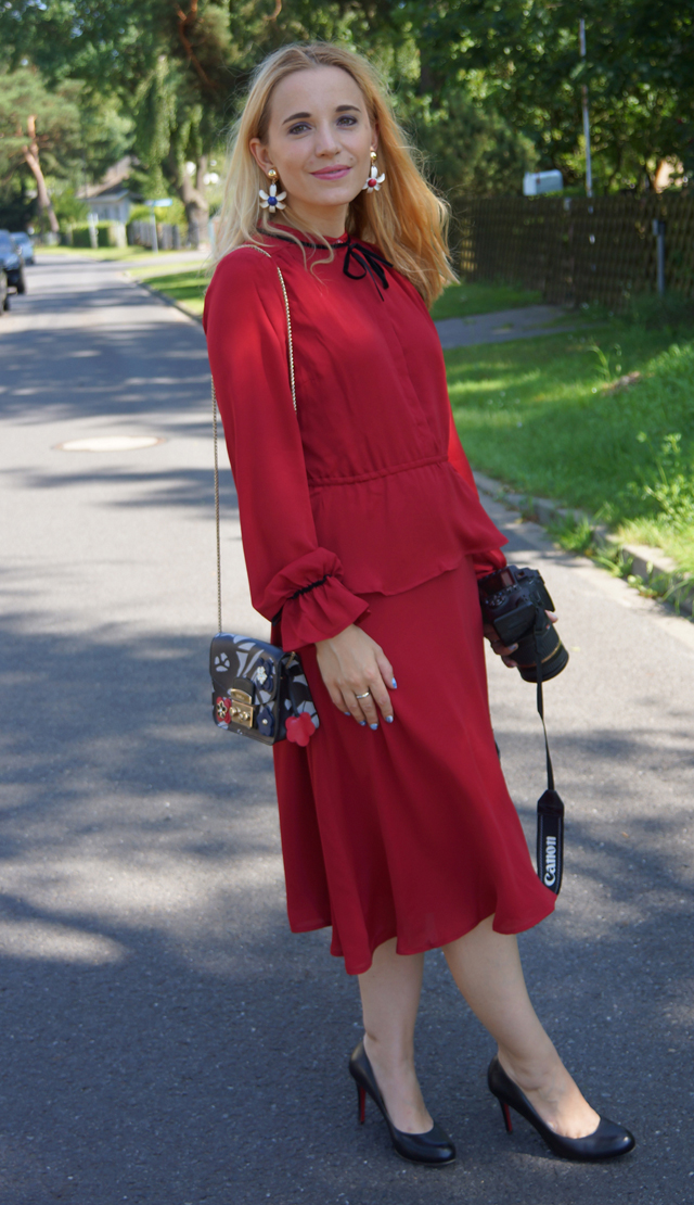 Outfit mint & berry Kleid rot 04