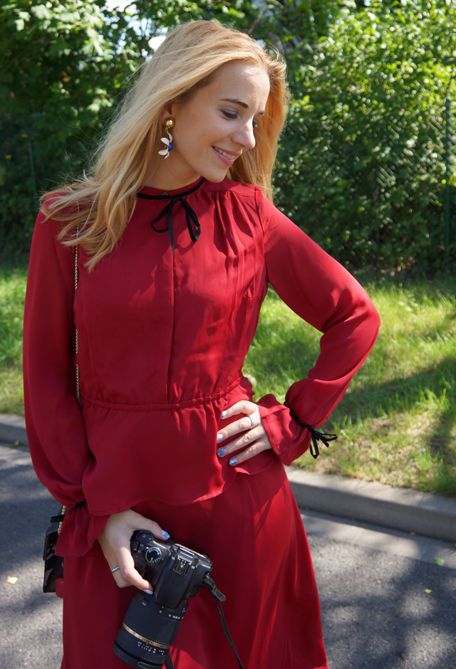 Outfit mint & berry Kleid rot 09