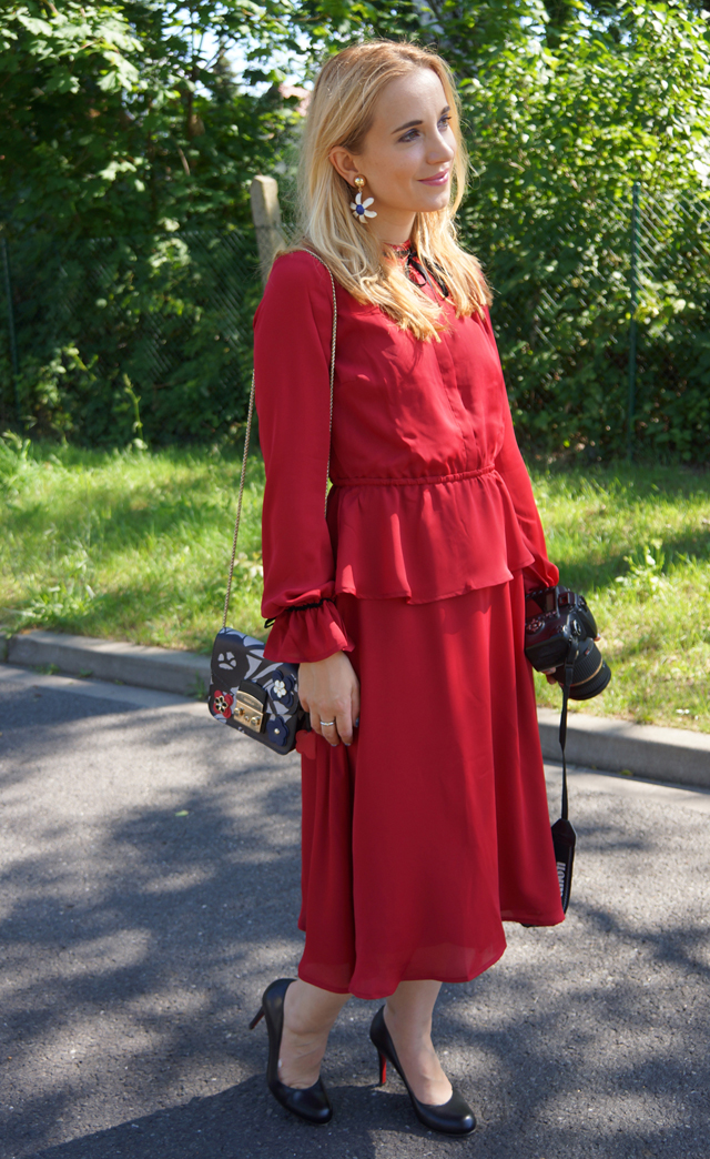 Outfit mint & berry Kleid rot Lady in red 07