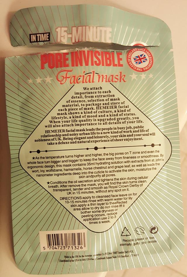 Hormel Hemeier Tuchmaske Pore Invisible Facial Mask Gesichtsmaske 05