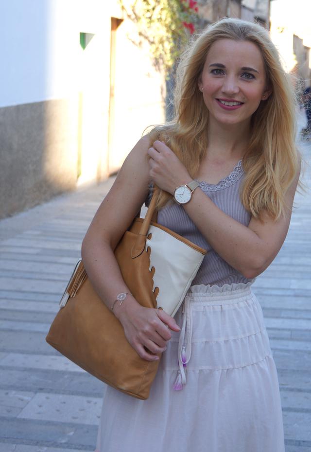 Outfit abury Rabbia Camel Leder Shopper Tasche 06
