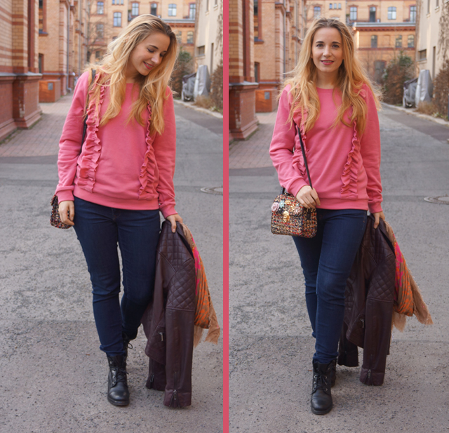 Outfit Rüschenpullover Rosa 02