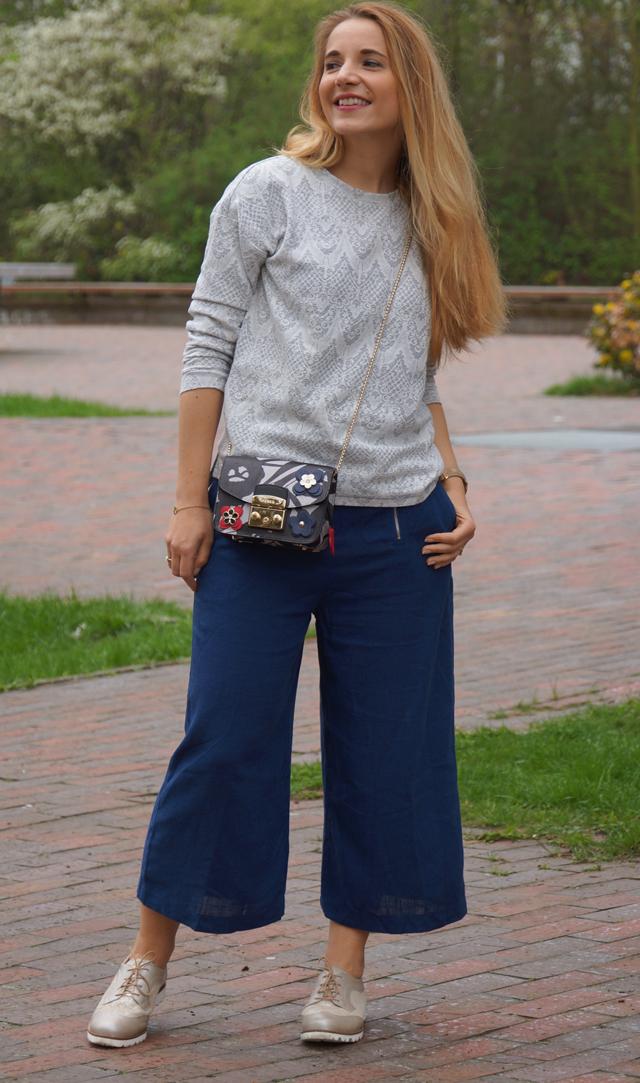 Outfit Blaue Culotte & Furla Tasche 06
