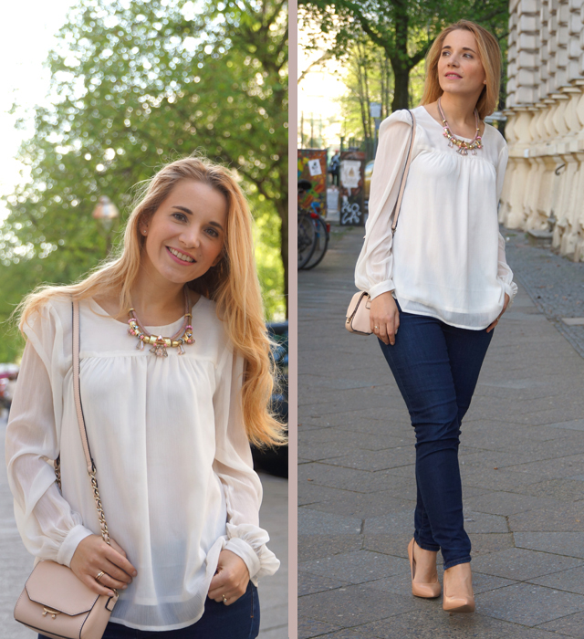 Outfit Nude Pumps & Statement-Kette 03