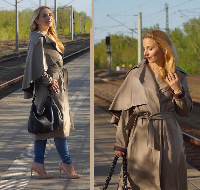 Outfit Eva Green Trenchcoat mit Seitencape 01