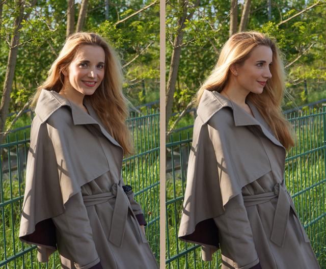 Outfit Eva Green Trenchcoat mit Seitencape
