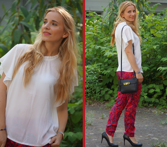 Outfit weiße Bluse und rote Hose 02