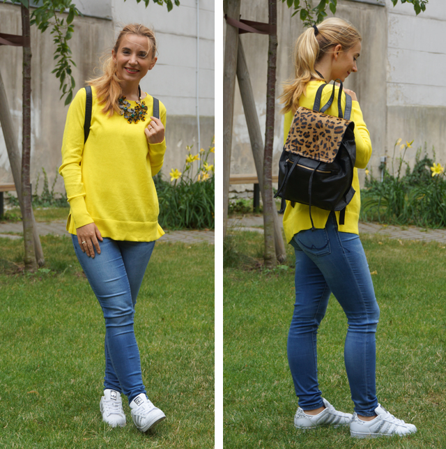 Outfit gelber Pullover & Statementkette 04