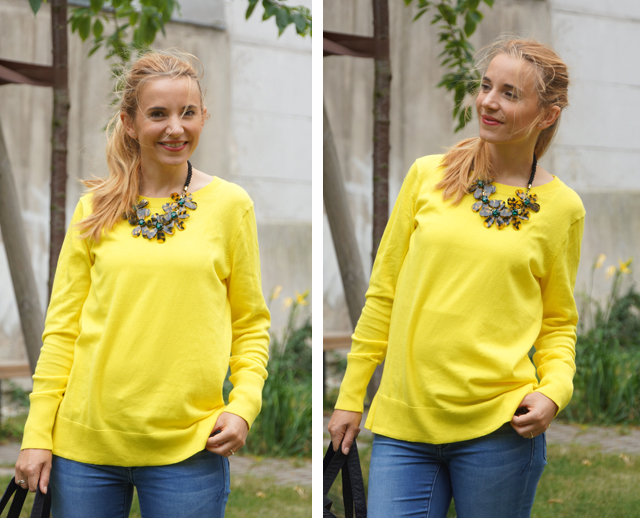 Outfit gelber Pullover & Statementkette
