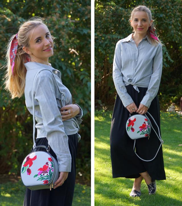 Outfit schwarze Culotte und graue Bluse 04