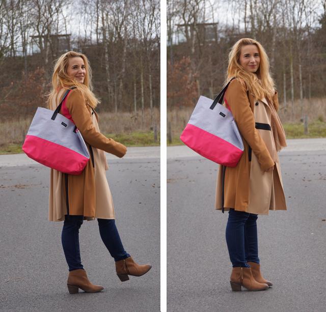 Trenchcoat & Shopper mit Pink 01