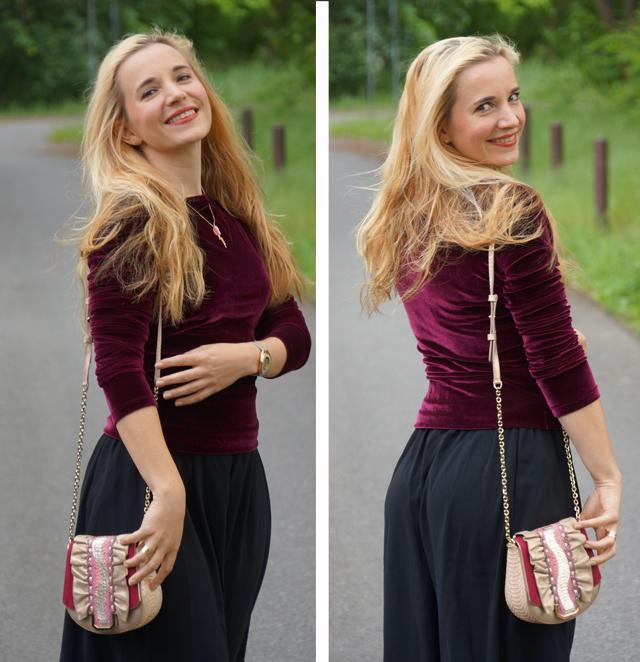 Outfit schwarze Culotte und Samtoberteil 04