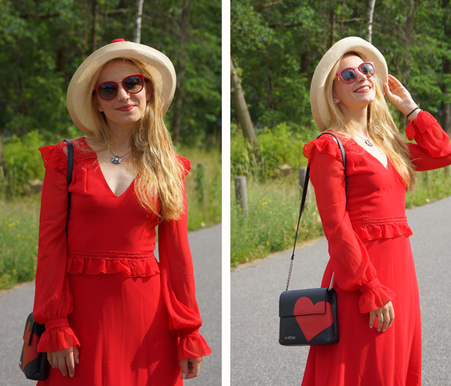 Outfit Rotes Kleid mit Sommerhut 02