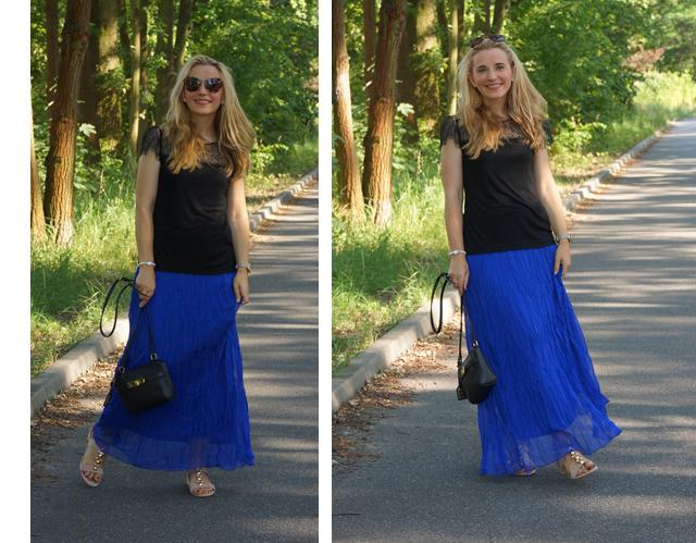 Outfit Blauer Maxirock & schwarzes Spitzen-Shirt 07