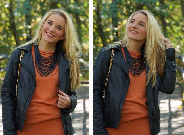 Outfit Orangefarbener Zweiteiler Lederjacke 02