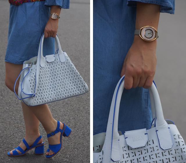 Outfit: Blaues Kleid und bunter Gürtel - GlamourSister.com